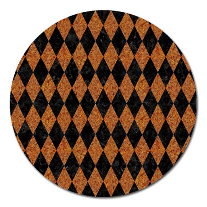 DIAMOND1 BLACK MARBLE & RUSTED METAL Magnet 5  (Round)