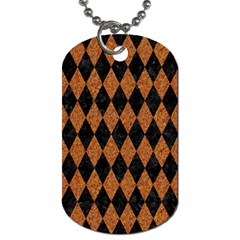 DIAMOND1 BLACK MARBLE & RUSTED METAL Dog Tag (One Side)