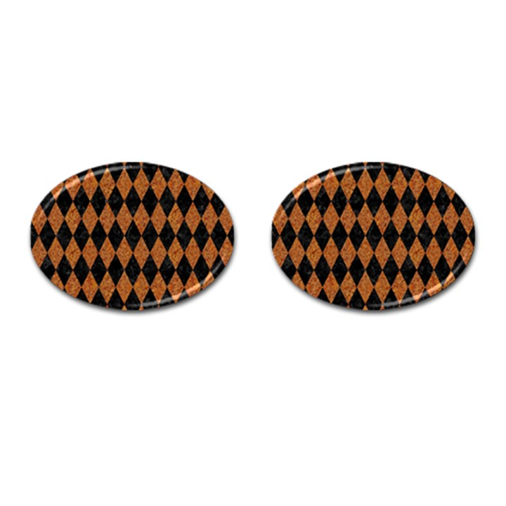 DIAMOND1 BLACK MARBLE & RUSTED METAL Cufflinks (Oval)