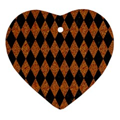 DIAMOND1 BLACK MARBLE & RUSTED METAL Heart Ornament (Two Sides)