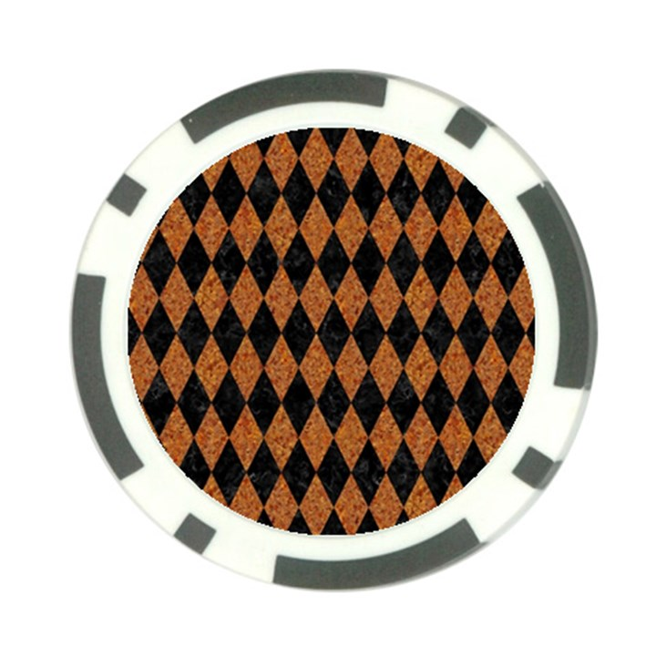 DIAMOND1 BLACK MARBLE & RUSTED METAL Poker Chip Card Guard
