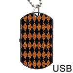 DIAMOND1 BLACK MARBLE & RUSTED METAL Dog Tag USB Flash (Two Sides) Back