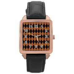 DIAMOND1 BLACK MARBLE & RUSTED METAL Rose Gold Leather Watch