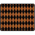 DIAMOND1 BLACK MARBLE & RUSTED METAL Double Sided Fleece Blanket (Medium)  58.8 x47.4 Blanket Front