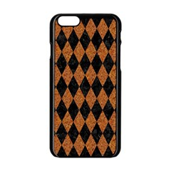 Diamond1 Black Marble & Rusted Metal Apple Iphone 6/6s Black Enamel Case by trendistuff