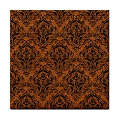 Damask1 Black Marble & Rusted Metal Tile Coasters