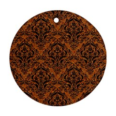 DAMASK1 BLACK MARBLE & RUSTED METAL Ornament (Round)