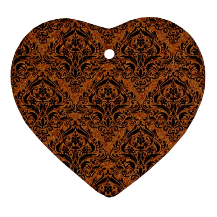 DAMASK1 BLACK MARBLE & RUSTED METAL Ornament (Heart)