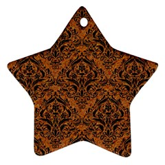 Damask1 Black Marble & Rusted Metal Ornament (star) by trendistuff