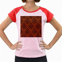 DAMASK1 BLACK MARBLE & RUSTED METAL Women s Cap Sleeve T-Shirt