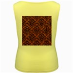 DAMASK1 BLACK MARBLE & RUSTED METAL Women s Yellow Tank Top Back