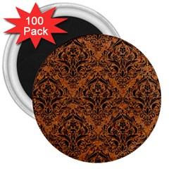 DAMASK1 BLACK MARBLE & RUSTED METAL 3  Magnets (100 pack)
