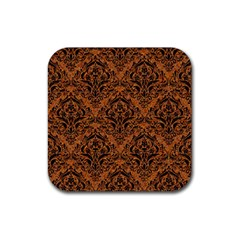 Damask1 Black Marble & Rusted Metal Rubber Coaster (square)  by trendistuff