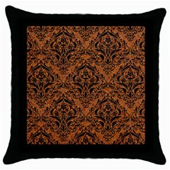 DAMASK1 BLACK MARBLE & RUSTED METAL Throw Pillow Case (Black)