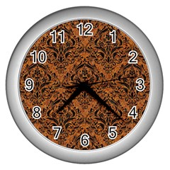 DAMASK1 BLACK MARBLE & RUSTED METAL Wall Clocks (Silver)