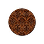 DAMASK1 BLACK MARBLE & RUSTED METAL Rubber Coaster (Round)  Front