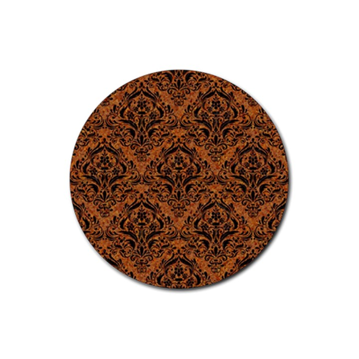 DAMASK1 BLACK MARBLE & RUSTED METAL Rubber Coaster (Round)