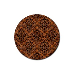 DAMASK1 BLACK MARBLE & RUSTED METAL Rubber Round Coaster (4 pack)