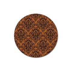 DAMASK1 BLACK MARBLE & RUSTED METAL Magnet 3  (Round)