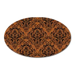 Damask1 Black Marble & Rusted Metal Oval Magnet by trendistuff