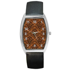 DAMASK1 BLACK MARBLE & RUSTED METAL Barrel Style Metal Watch