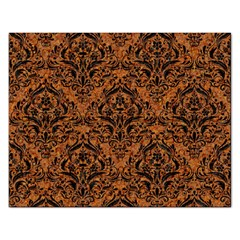 DAMASK1 BLACK MARBLE & RUSTED METAL Rectangular Jigsaw Puzzl