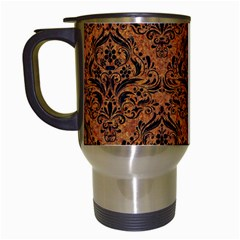 Damask1 Black Marble & Rusted Metal Travel Mugs (white) by trendistuff