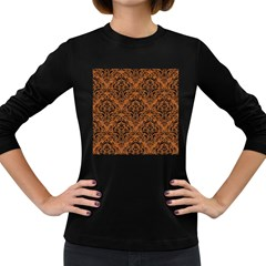 DAMASK1 BLACK MARBLE & RUSTED METAL Women s Long Sleeve Dark T-Shirts