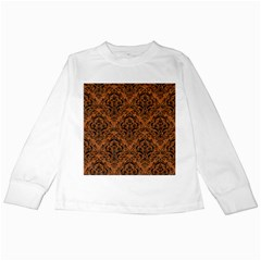 DAMASK1 BLACK MARBLE & RUSTED METAL Kids Long Sleeve T-Shirts