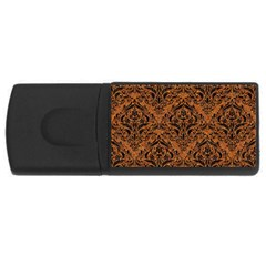 Damask1 Black Marble & Rusted Metal Rectangular Usb Flash Drive by trendistuff