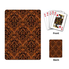DAMASK1 BLACK MARBLE & RUSTED METAL Playing Card