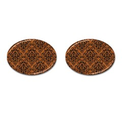 DAMASK1 BLACK MARBLE & RUSTED METAL Cufflinks (Oval)