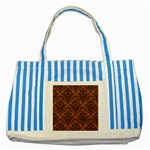 DAMASK1 BLACK MARBLE & RUSTED METAL Striped Blue Tote Bag Front