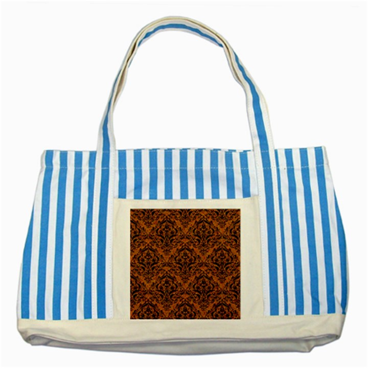 DAMASK1 BLACK MARBLE & RUSTED METAL Striped Blue Tote Bag