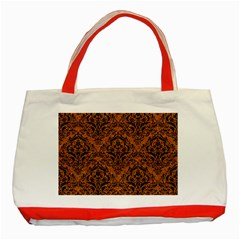 DAMASK1 BLACK MARBLE & RUSTED METAL Classic Tote Bag (Red)
