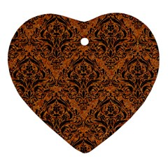 DAMASK1 BLACK MARBLE & RUSTED METAL Heart Ornament (Two Sides)