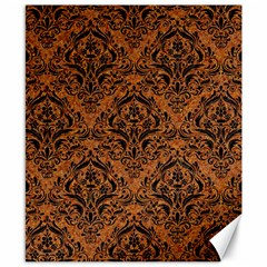 Damask1 Black Marble & Rusted Metal Canvas 8  X 10  by trendistuff