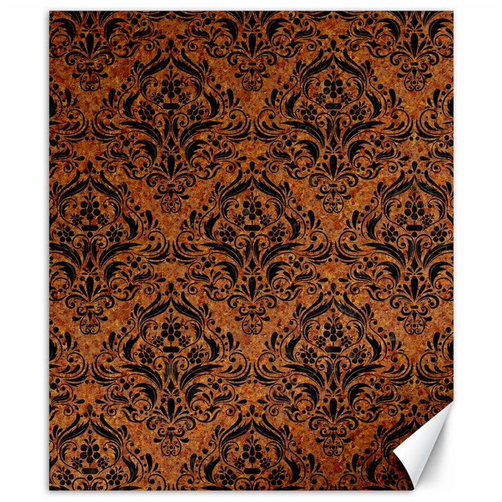 DAMASK1 BLACK MARBLE & RUSTED METAL Canvas 8  x 10