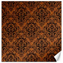 Damask1 Black Marble & Rusted Metal Canvas 12  X 12   by trendistuff