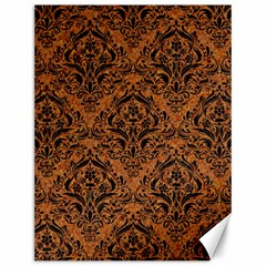 DAMASK1 BLACK MARBLE & RUSTED METAL Canvas 12  x 16