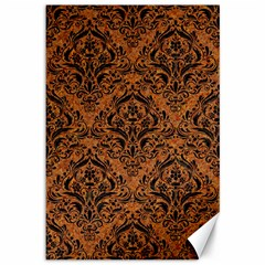 Damask1 Black Marble & Rusted Metal Canvas 12  X 18   by trendistuff