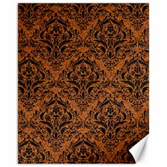 Damask1 Black Marble & Rusted Metal Canvas 16  X 20   by trendistuff