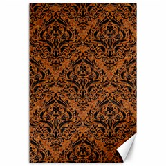 Damask1 Black Marble & Rusted Metal Canvas 24  X 36  by trendistuff