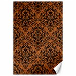 DAMASK1 BLACK MARBLE & RUSTED METAL Canvas 24  x 36  36 x24  Canvas - 1