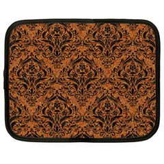 DAMASK1 BLACK MARBLE & RUSTED METAL Netbook Case (Large)