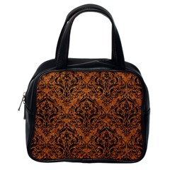 DAMASK1 BLACK MARBLE & RUSTED METAL Classic Handbags (One Side)