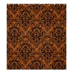 DAMASK1 BLACK MARBLE & RUSTED METAL Shower Curtain 66  x 72  (Large)