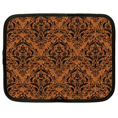 DAMASK1 BLACK MARBLE & RUSTED METAL Netbook Case (XL)