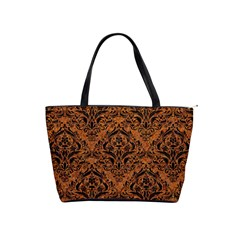 Damask1 Black Marble & Rusted Metal Shoulder Handbags by trendistuff