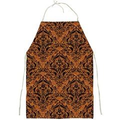 Damask1 Black Marble & Rusted Metal Full Print Aprons by trendistuff